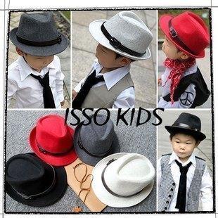 Summer male child gentleman hat black jazz hat bucket hats  25ev