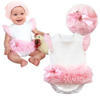 Free shipping 1 pcs/lot,Princess Rose Princess baby Romper pink veil paragraph,0.14kg