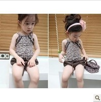 2013 wholesale Children's Clothes baby Clothing sets girl's Leopard grain vest and shorts clothes suits  5sets/lot