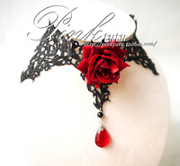 Black lace rhodic rose crystal rose vintage gothic vampire necklace