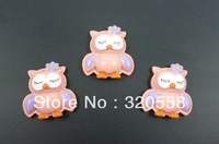 Wholesale lovely pink owl  FlatBack Resins Scrapbooking Embellishment 50pcs  Free Shipping
