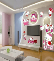 Free shipping New arrival beautiful child real wall stickers bicycled pink cat wall covering Large