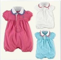 Retail hot 100% cotton 2013 new baby girls rompers beautiful new born summer baby bodysuits 3colors