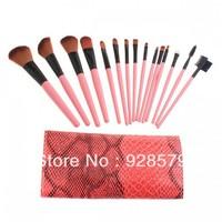 15PCS Makeup Brushes Set Eyebrow Comb with Roll up Snake Pattern Bag Make up Brush