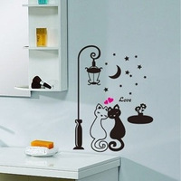 Free shipping Wall stickers lovers cat strightlightsstreetlights child cartoon wall stickers black and white cat