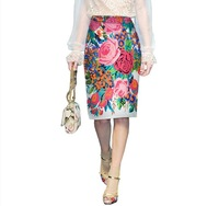 Free Shipping high quality 2013 new ladies summer fashion Peony vintage printed bust skirt