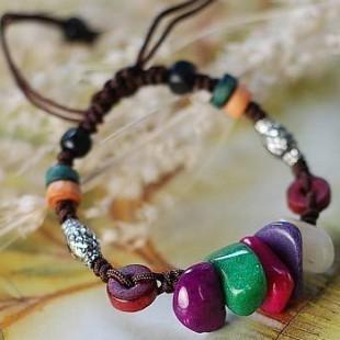 Colorful Natural Stone Bracelets for Women Gift Fashion Women Weave Bracelet Charm Accessories Wholesale Tibetan silver Jewelery