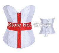 New arrival Sexy Satin Bustiers & Corsets Top Overbust  Lace up Back & G-string S-XXL