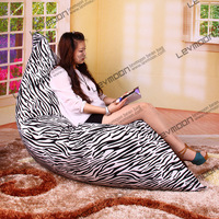 FREE SHIPPING 140*180CM zebra-stripe bean bags for sale 100% cotton living room zebra bean bag sofa