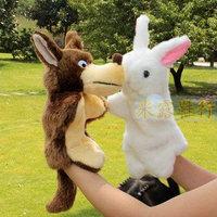 Puppet doll big wolf and rabbit Large animal puppet story telling good helper puppet plush hand puppet 2PCS/lot  free shipping