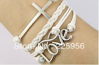 12PCS/LOT!Free Shipping!Silver Alloy Cross LOVE Leather Rope Cuff Bracelet Charm Fashion Infiity Women Costume Jewelry C-015