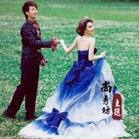 Clothes train wedding dress blue gradient color