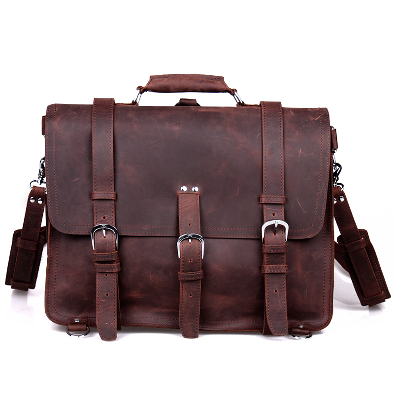 2013 Crazy bags for men Fashion vintage crazy horse leather Large travel backpack double-shoulder cross-body handbag bag men(China (Mainland))