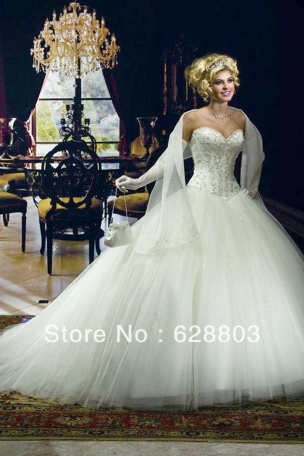 Sissi Tulle Satin Brautkleid Bridalgown Wedding Sweetheart Strapless ...