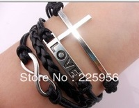 12PCS/LOT!Free Shipping!Silver Alloy Cross LOVE Leather Rope Cuff Bracelet Charm Fashion Infiity Women Costume Jewelry C-017