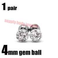 1 pair Cartilage Tragus Barbell Piercing clear  Gem Ferido Crystal Ball studs