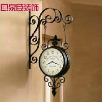 Freeshipping Wrought iron double side antique style wall clocks