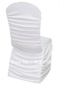 FREE SHIPPING 100pcs/lot wedding chair covers ruffled white spandex chair covers for wedding(China (Mainland))