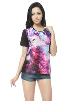2013 Fashion Women Galaxy Space Print Short Sleeve T Shirts,O-Neck Top T-Shirt,Summer Owl Galaxy Shirt Ladies Tees ST004