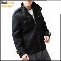 Fashion epaulette short woolen overcoat men's clothing