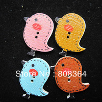 Free Shipping 40 Random Mixed Wood Sewing Buttons 2 Holes Birds Pattern Scrapbooking 23x26mm(W02354 X 1)