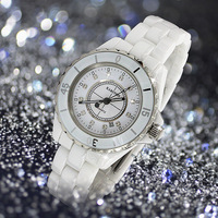 White ceramic watch fashion ladies watch rhinestone table calendar luminous waterproof table fashion table