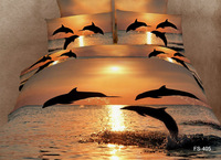 New!4pcs bedding sets cotton Printed the bed linen queen size duvet cover flat sheet bed clothes The dolphins 5064
