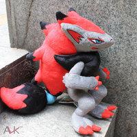 Red Pokemon pokemon plush toy doll 32cm Zoroark action figures toy best gift for children,free shipping