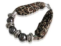 2014 Hot Sale! Women Leopard Fabic Choker Short Beaded Pendant Necklace, Jewelry Necklaces, Wholesale, SN057-6