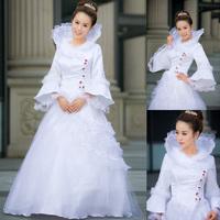 Flare sleeve autumn and winter bridal clothes long-sleeve turtleneck cotton wedding dress formal dress lace decoration wedding
