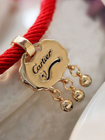 Red string gold longevities lock knitted bracelet accessories