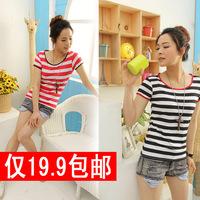 free shipping 2013 summer women's stripe slim black and white short-sleeve T-shirt female t shirt loose plus size
