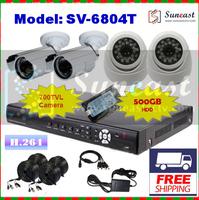 New Arrival Free Shipping Effio-E 700TVL CCTV System with 2 IR Dome Camera+2 Bullt Cameras+500GB HDD DVR Kit SV-6804T