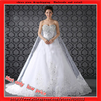 2013 wedding dress rhinestone flower bride High-quality  New style 300CM