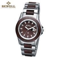 Bewell sallei zangwill lady ebony wood vintage elegant watch steel strip Women calendar