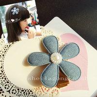 Elegant female child denim blue hair accessory hair accessory hairpin child hair accessory hair clip hair accessory