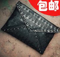 2013 women's handbag fashion punk skull bags rivet envelope bag day clutch bag for women