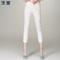 2013 plus size clothing summer mm elastic lace elastic waist skinny pants capris
