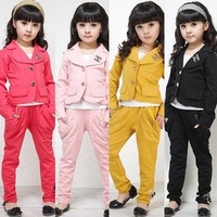 Children's clothing girl blazer set for spring and autumn long sleeve top+pants set 4 colors free shipping