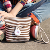 Stripe clamshell package three-color patch canvas bag cosmetic bag women's handbag personalized cute bags