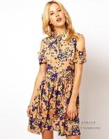 Newest Elegant Flower Print Turn-down Collar Orange Cotton Girl Dress\Fashion Slim Short Sleeve Sexy Off Shoulder Casual Dress