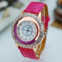 free shipping leather beautiful women's ladies girls fashion wrist watches, brand quartz wristwatch with diamond crystal around