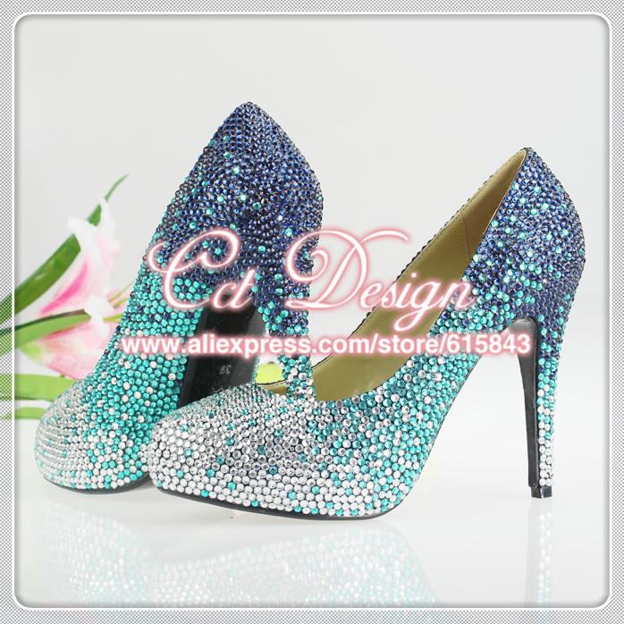 free shipping women high heels blue color gradual change crystal wedding shoes(China (Mainland))