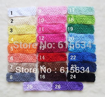 FREE SHIPPING new 50 pcs 1.5inch Crochet Headband Kid Baby Girl Headband Headwrap Headbands Headwear Clip Crochet Knit 29 colors