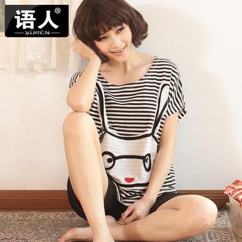 Lovely sleepwear summer female 100% cotton lounge plus size clothing loose cartoon cotton lounge set