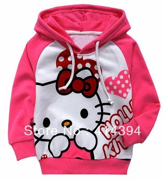 wholesale red hello kitty KT cat cartoon childrens clothing boy's girl's tops shirts coat Hooded Sweater free shipping
