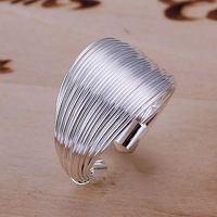 R018 Size:opened Wholesale 925 silver ring, 925 silver fashion jewelry, Line Ring-Opened /bxsakozatg