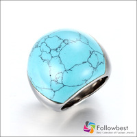 Women's Ornate Design Dome Cocktail Turquoise Vintage Rings with Stainless steel ring Free Shipping