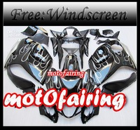 motofairing -Black + white flame for GSXR1300 GSX-R1300 hayabusa 2008 - 2009 GSXR 1300 08 - 09 fairi