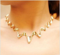 Min.order is $15 (mix order)2013 Lightning collar necklaces for women,Fashion jewelry,Gold plated chokers necklace chain N003